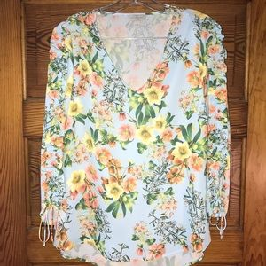 Belle Sky Floral Blouse Ruffle Sleeves Small